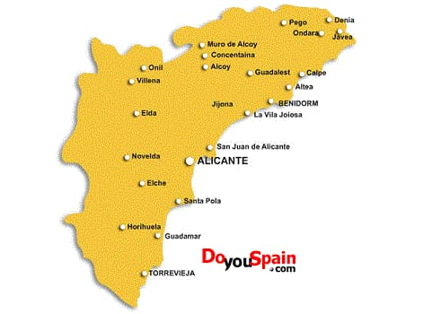 Costa De Azahar Spain Map.Tourist Information Alicante Maps Doyouspain