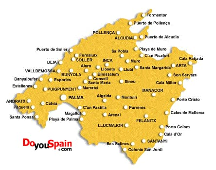 Mapa De Mallorca Calas.Informacion Turistica Con Mapa De Mallorca Doyouspain